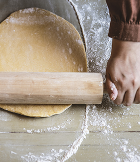 Flattening a dough food photography recipe idea